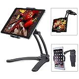meacom 2 in 1 Handyhalter Küche Handy Halterung Tisch Tablet Ständer Alulegierung und ABS Wand Halter für Handy, Tablet und mehr 7.9 to 9.7 Zoll Gerät(Schwarz)