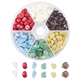 Pandahall Elite - 1Caja de 50 g–Abalorios de cristal de cuarzo de amatista y aguamarina, mezcla de colores, cuentas sin agujero 7,5~ 13x 5~ 7x 3~ 4mm, Mixed Color-7, 5~8x5~8mm