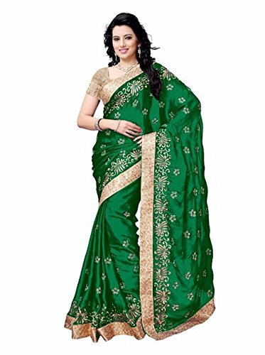 Shailaja Sarees Women's Satin Saree(SSS1124C_Green_Free Size)
