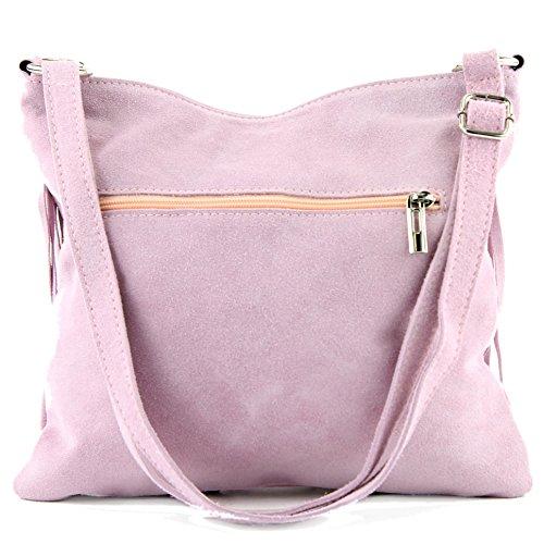 Borsa a mano borsa a tracolla shopping bag donna in vera pelle italiana T02 T145 Blassrosa