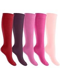 d0c2cac68e6 Footstar femmes hommes - Paquet de 5 EVERYDAY! dames genou chaussettes  tailles 35-50