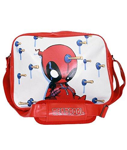 Sac bandoulière Deadpool fléchettes sac messager 37x27cm blanc rouge