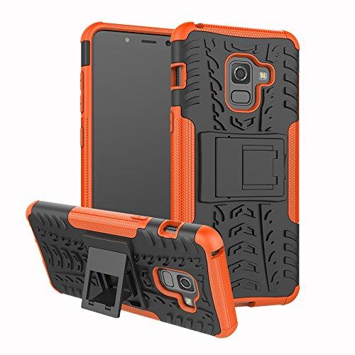 Preisvergleich Produktbild Roreikes Handyhülle für Samsung Galaxy A8 2018 Hülle, Hyun Muster Samsung A8 2018 Case Cover Silikon 2 in1 Weich TPU+PC Stoßfest Dual Layer Rugged Armor Schutzhülle mit Ständer Bumper(Orange)