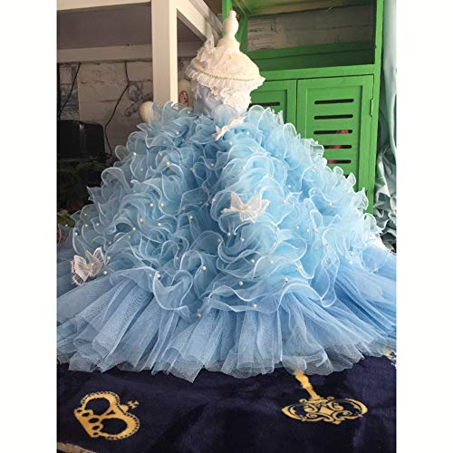 WHZWH Pet Brautkleid, Hund Braut Kostüm Fantasy blau Mehrschichtige Mesh Flauschigen Rock Extra Langer Schwanz Spitze Design Geeignet für Hochzeit Foto Festival - Flauschigen Hunde Kostüm