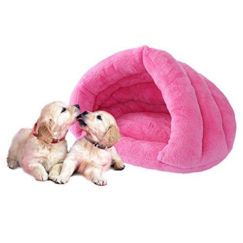 Demiawaking letto per gatto e cane piccolo cuccia morbida per cucciolo cuscino morbido caldo sacco a pelo per gatto (rosa rossa)