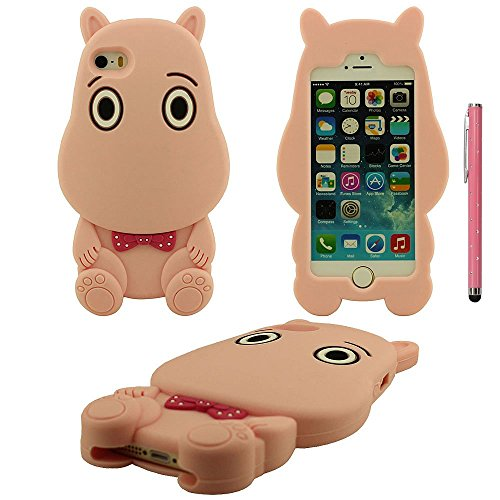 Apple iPhone 5 SE 5S 5C Coque Housse de Protection, silicone Ultra Doux Souple Type d'animal Type Petit Hippopotame Shape Beau Case avec stylet Rose
