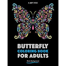 Butterfly Coloring Book For Adults: Black Background: Volume 3 (Coloring Book For Adults With Black Background)