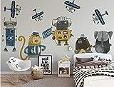 Carta Da Parati Fotomurali Camera Dei Bambini Robot Moderno Fumetto Minimalista Per Muro Di Fondosalotto Stanza Del Bambino (W)250X(H)175Cm Solk Cloth