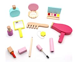 Girls Toys Kids Pretend Makeup Sets for Girls Wooden Toys Makeup for Kids Girls Role Play Games for Kids Toys Nail Varnish Se