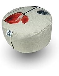 yatoshi ligero y higiénico–Cojín de meditación Zafu Cojín | funda extraíble, relleno EPS | Ideal para yoga de viaje., color Lotus Design, tamaño 15 x 30 x 30 cm