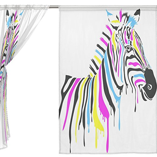jstel 2Pcs Voile Fenster Vorhang, Kunst Colorful Zebra, Tüll Sheer Vorhang Tuch Querbehang 139,7x 198,1cm Zwei scheibenelementen Set, Polyester, blau, 55x78x2(in) (Zebra Burnout)