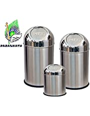 PARASNATH Stainless Steel Push Dustbin (Silver 5x8-inches+8