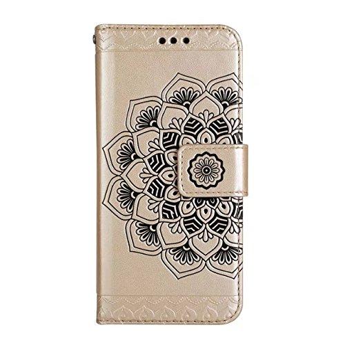 GR iPhone 5s & SE-Bright Niedliche Blumen Blume geprägte Muster Ledertasche horizontale Folio Flip Stand Case Brieftasche Tasche mit Lanyard und Kreditkarte Cash Slots ( Color : Rose-gold ) Gold