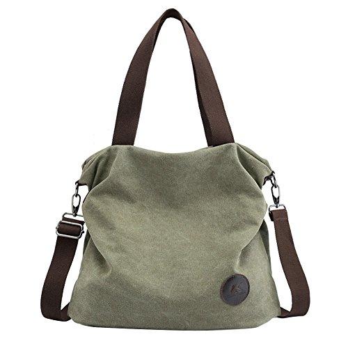 PB-SOAR Damen Canvas Tasche Schultertasche Handtasche Umhängetasche Shopper Beuteltasche 41x36x10cm (B x H x T), 5 Farben auswählbar (Armeegrün)