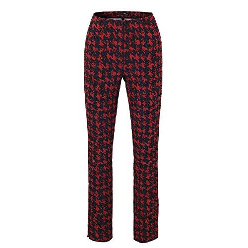 Stehmann Loli-762, schmale, stretchige Damenhose im modischen Druck Schwarz-Rot
