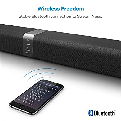 Soundbar, TaoTronics TV Sound Bar Wired and Wireless Bluetooth Audio (2 Full Range High Quality Speakers,34-Inch,2 Passive Radiators,Dual Connection Methods,Touch and Remote Control) from TaoTronics