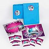 8 Einladungskarten zum Geburtstag Hashtag / Kindergeburtstag / #Einladung / Disco-Kugel / Disco-Party / Einladungen zum Geburtstag für Mädchen incl. 8 Umschläge, 8 Party-Tüten / blau, 8 Aufkleber