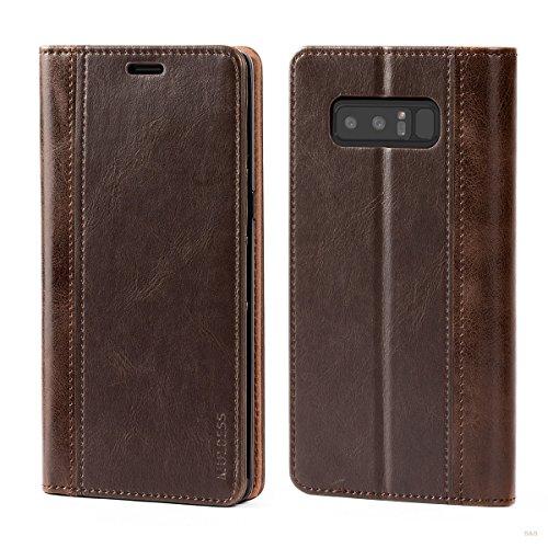 Mulbess (Book Style) Premium Handy Schutzhülle Ledertasche im Kartenfach für Samsung Galaxy Note 8 Tasche Hülle Leder Etui Schale,Vintage Braun