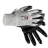 XJLXX Guantes antideslizantes resistentes al desgaste, guantes de protección contra el trabajo a prueba de cortes, guantes de cocina, tecnología anti-corte de tres etapas, negro + gris Guantes industr