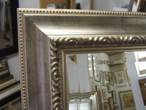 NEW DISTRESSED ORNATE SILVER WALL AND OVERMANTLE MIRRORS - VARIOUS SIZES AVAILABLE (Plain Mirror Glass, 53