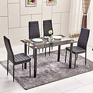 6a78ea26dd Modern 6 Black Dining Room Chairs Set of 6 for Kitchen Faux Leather Chairs  with Comfy Upholstered Padded Seat Metal Legs for Restaurant Meeting Extra  Room ...