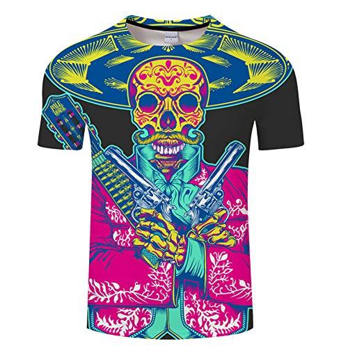 ops Mode-T-Shirts Unterhemden Kurzarm Unisex Neuheit Kostüm HD Anime Druck Skelett ()