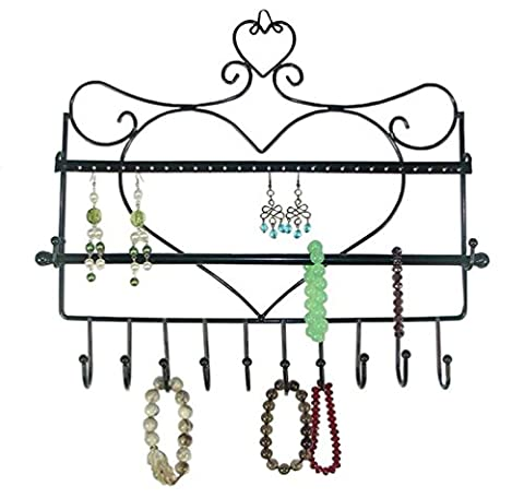 Gearmax® Multi-functional Heart Shape Wall Mount Earrings Necklace Bracelet Jewelry Metal Display Stand Rack Organizer
