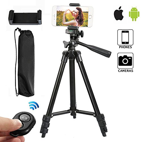 Trípode Movil 105cm Completo Tripode de Viaje con Bluetooth Remote Shutter, Movil Holder y Gopro Adaptador para Smartphone iPhone, Samsung Cámara Reflex