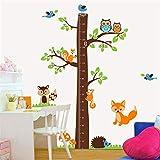 Große Baum Höhenlehre Kind Wachstum Messung Wandaufkleber Niedliche Eule Eichhörnchen Kinderzimmer Wohnzimmer Diy Selbstklebende Abziehbilder