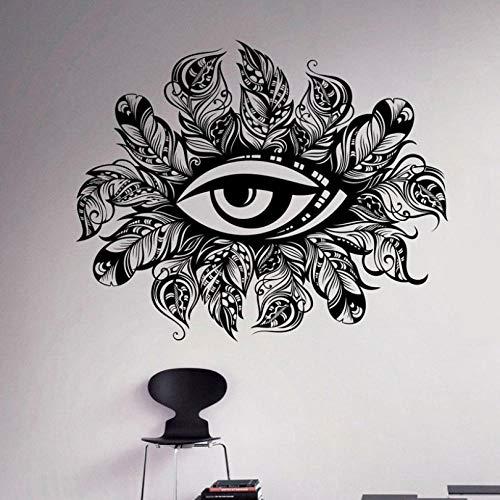 ljjljj Volkskunst Federn Auge Wand Vinyl Aufkleber Indianer Wandaufkleber Ornament Home Interior Schlafzimmer Dekor Wandbilder 68x55 cm -