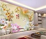 BHXINGMU 3D-Tapeten Benutzerdefinierte Fototapeten Jade Carving-Stil Vase Magnolie Schlafzimmer Wandbilder Tapetenaufkleber 280Cm(H)×400Cm(W)