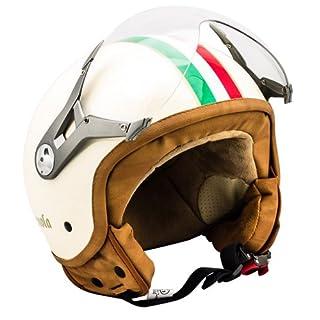 SOXON SP-325 Imola · Vespa-Helm Jet-Helm Biker Motorrad-Helm Bobber Pilot Retro Vintage Chopper Roller-Helm Cruiser Helmet Scooter-Helm Mofa · ECE zertifiziert · mit Visier · inkl. Stofftragetasche · Beige · XS (53-54cm)