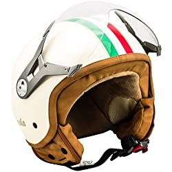 SOXON SP-325 - Casco Moto, ECE Certificado, con parasol y bolsa de casco, Beige (Imola), XS (53-54cm)