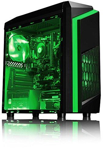 VIBOX Killstreak LA4-104 Gaming PC – 4,1GHz AMD A6 Dual-Core APU, Desktop Gamer Computer mit Spielgutschein, Windows 10, Grün Innenbeleuchtung, lebenslange Garantie* (3,9GHz (4,1GHz Turbo) superschneller AMD A6-6400K Dual-Core-APU / CPU-Prozessor, 16GB DDR3 1600MHz RAM, 2TB (2000GB) SATA III 7200rpm Festplatte, 400W 85+ Netzteil, CIT F3 Grün Gaming Geh§use, Asrock FM2+ A68M Mainboard) - 2