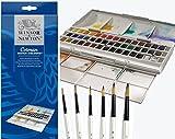 Winsor & Newton Cotman Demi Godet Couleur Eau Ensemble De Studio Plus 6 Aquarelle Perle Brosses