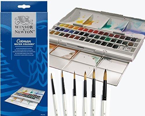 Winsor & Newton Cotman halbe Pfanne Wasser Farbe Studio Set Plus 6Aquarell Pearl Pinsel - Wasser-pfanne