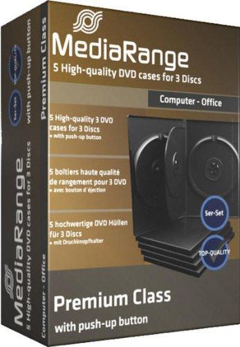 MediaRange DVD-Leerhülle für 3 Discs, 14mm, schwarz, 5er Pack