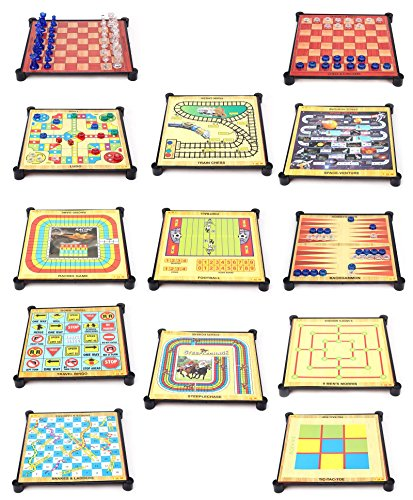 """Tablorâ""""¢ 13 in 1 Family board games like Ludo Chess Snacks and Ladders and Other Board Games for Home & Travel"""