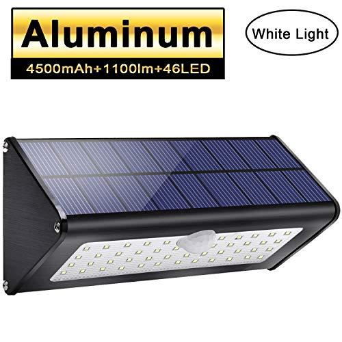 Licwshi 1100lm Solar Außenbeleuchtung 4500mAh Schwarz Aluminiumlegierung 120 ° Infrarot Bewegungssensor, wasserdicht IP65 Sicherheitslicht mit 4 intelligenten Modi für Garten, Tor, Wall- weißes Licht