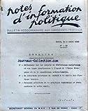 BULLETIN AUX DIRIGEANTS FEDERAUX [No 42] du 02/04/1948 - PROJETS DE FEDERATIONS EUROPEENNE - SITUATION POLITIQUE EN ALGERIE - RESULTATS DE LA POLITIQUE ECONOMIQUE....