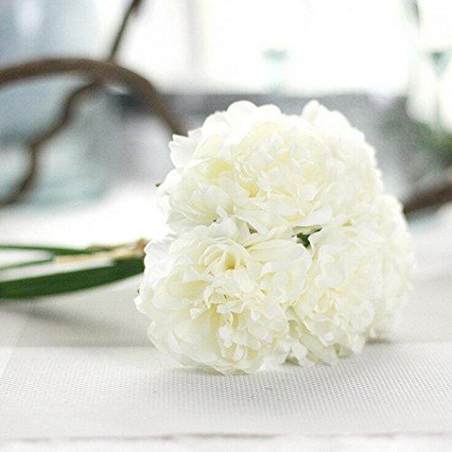 Mitlfuny Unechte Blumen,Künstliche Deko Blumen Gefälschte Blumen Seidenrosen Plastik Köpfe Braut Hochzeitsblumenstrauß für Haus Garten Pfingstrose Floral künstliche Seide Fake Flowers Wedding Bouquet Bridal Hortensie Dekor 6 Farbenr - Bouquet Silk Flower Lila