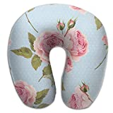 Seiobax Neck Pillow Romantic Roses Blue U-Shape Travel Pillow Ergonomic Contoured Design Washable Cover