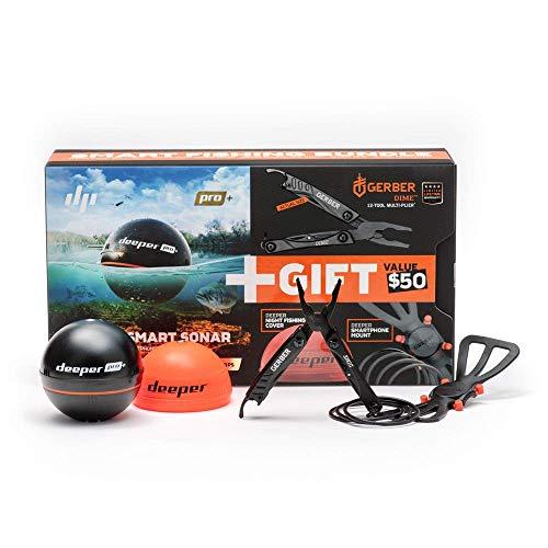 Deeper PRO Plus smart Fischfinder beinhaltet Gerber DIME-Multifunktionsgerät, Nachtangelabdeckung und Smartphone Halterung