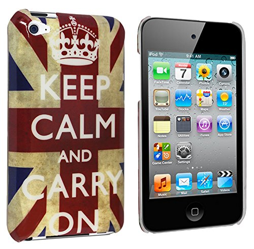 Apple Itouch Design Snap (Glossy Union Jack (Keep Calm And Carry On) Design Kunststoff Hardcase für Apple iPod Touch 4G 4. Gen Generation (inkl. Schutzfolie))