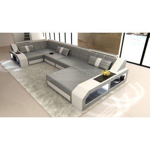 Garniture de Canapé AREZZO forme U Gris - blanc design intérieur de la Maison Canapé d'angle