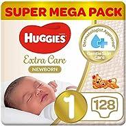 Huggies New Born Diapers, Size 1, Super Mega Pack, upto 5 kg, 128 Diapers
