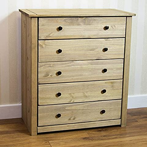 Home Discount Panama 5 Drawer Chest Solid Pine Wood Waxed Oak Finish