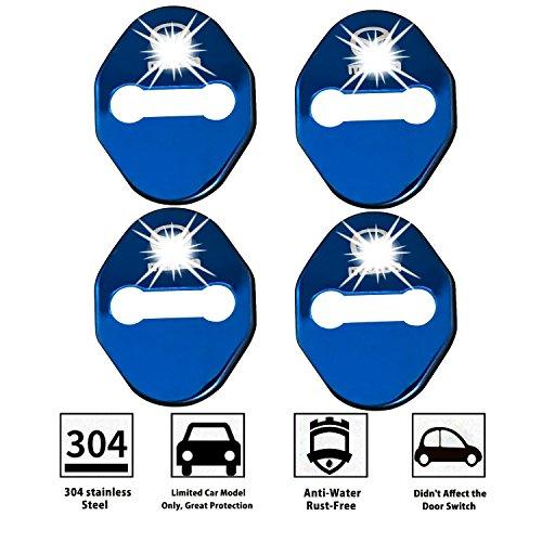[4 Stück] LFOTPP CX3 CX4 CX-5 2 3 6 Edelstahl Auto Türschlossabdeckung Door Lock Cover Zubehör Türverriegelung Abdeckung Blau -