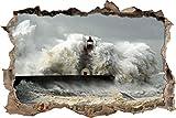Pixxprint 3D_WD_S2493_92x62 gigantische Welle erfasst Leuchtturm Wanddurchbruch 3D Wandtattoo, Vinyl, bunt, 92 x 62 x 0,