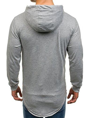 BOLF Felpa – Con cappuccio oversize – Infilabile dalla testa – Con stampe – Tasca canguro – Cuciture – Da uomo 1A1 Grigio